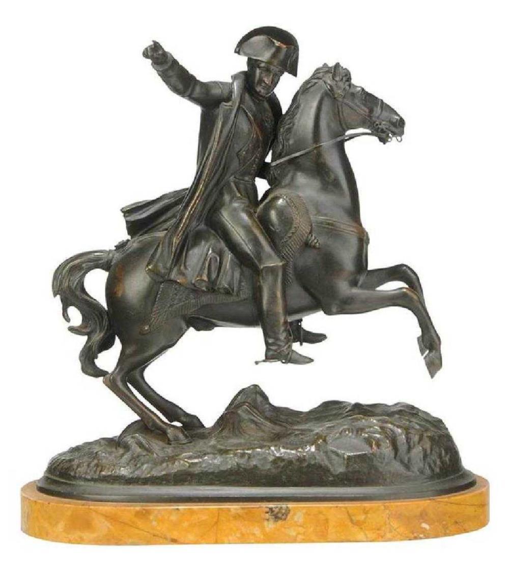 19th C. Bronze & Marble Figure of Napoleon