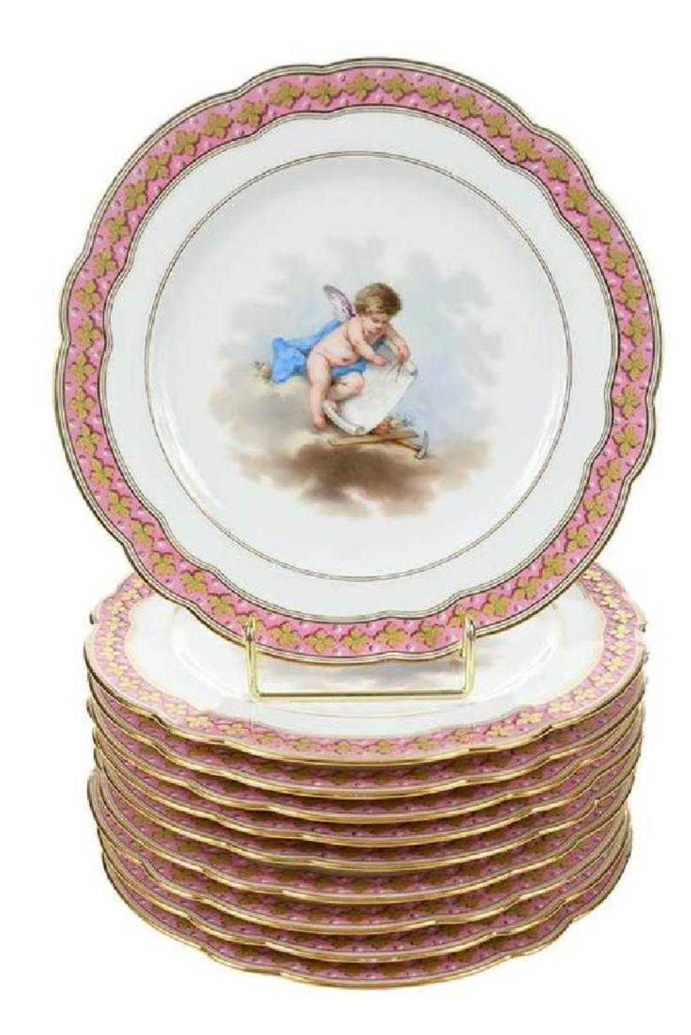 Set of 10 Late 19th C. Le Rosey Hand Painted Cabinet Plates