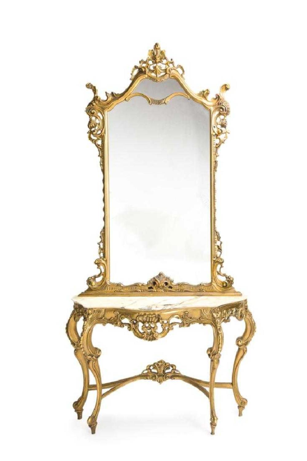 Late 19th C. Italian Giltwood & Marble Console with Vanity Mirror