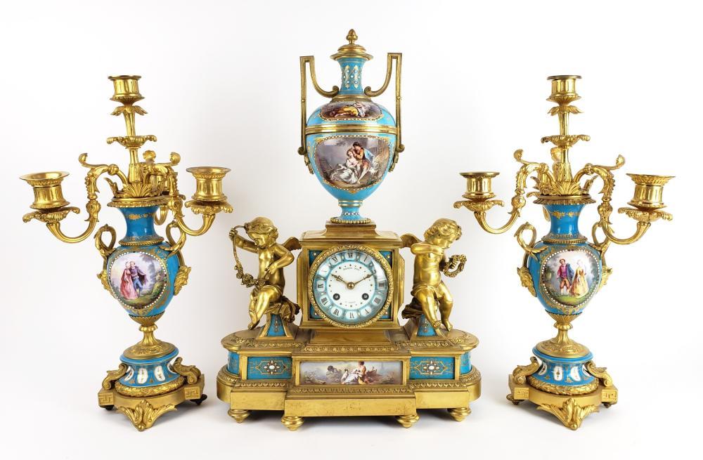 19th C. French Sevres Jewelled Porcelain & Gilt Bronze Figural Clockset