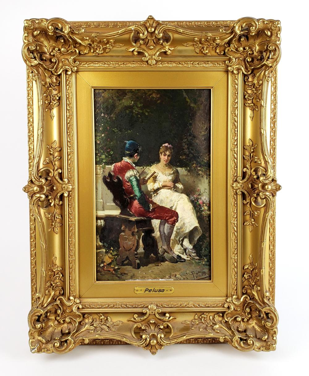 19th C. Pelusa Signed Oil on Board
