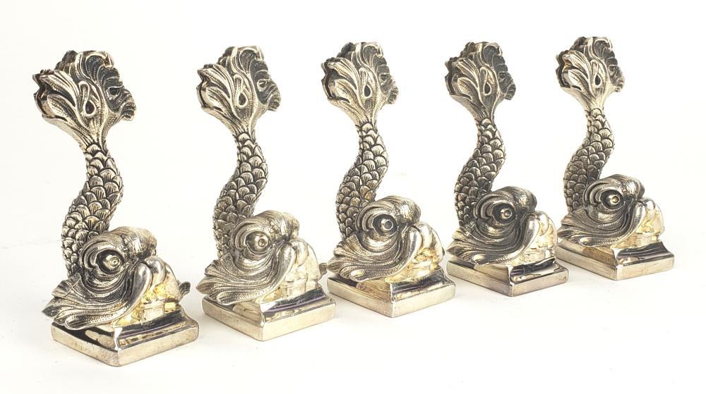 Set of 5 Christofle Figural Card Holders