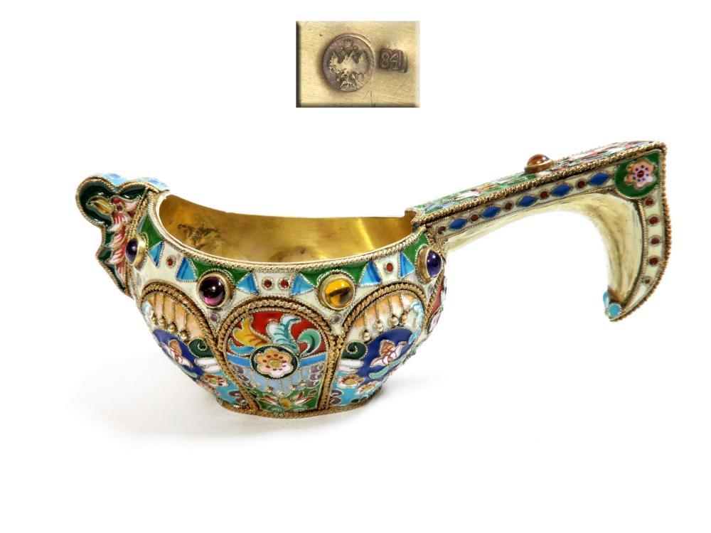 Russian Enamel & 84 Silver Jewelled Cup