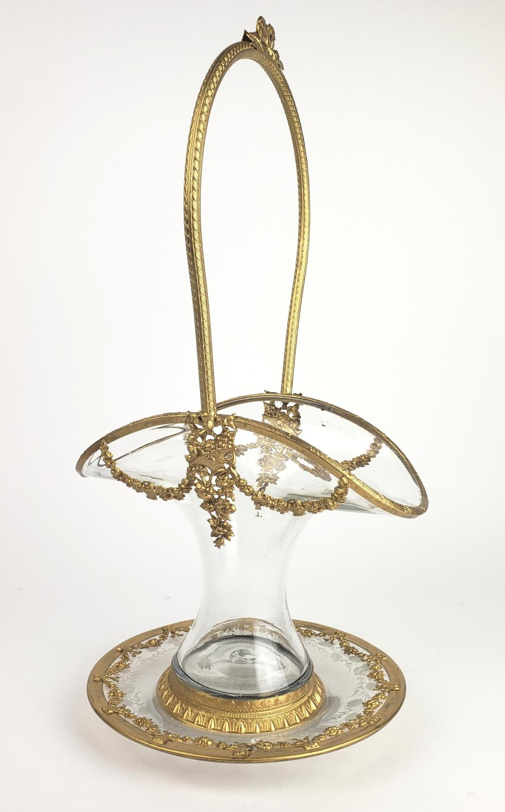 19th C. French Gilt Bronze & Crystal Basket with Underplate