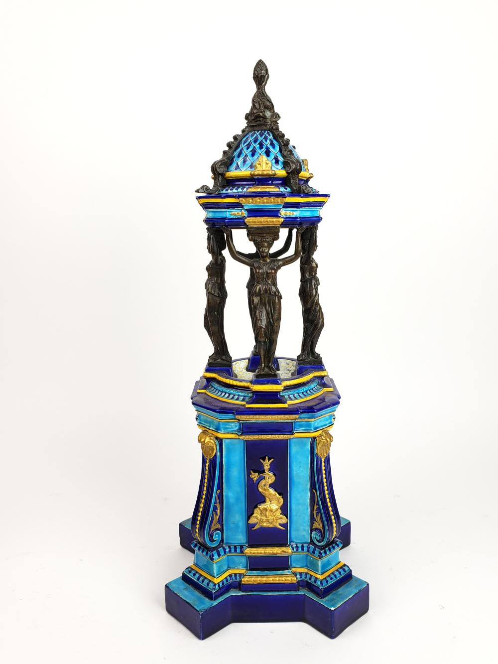 A French Figural Porcelain & Patinated Bronze Centerpiece