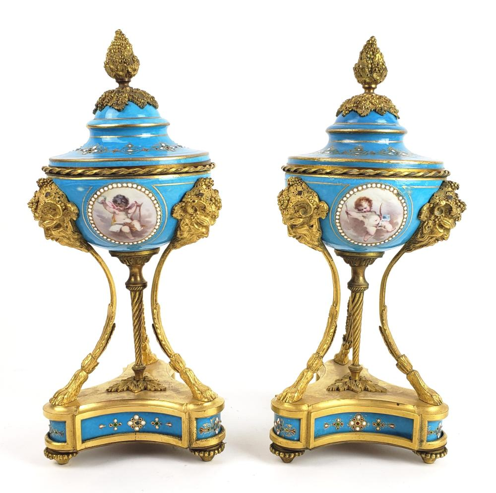 Pair of 19th C. Sevres Jewelled Porcelain & Bronze Vases w/ Lids