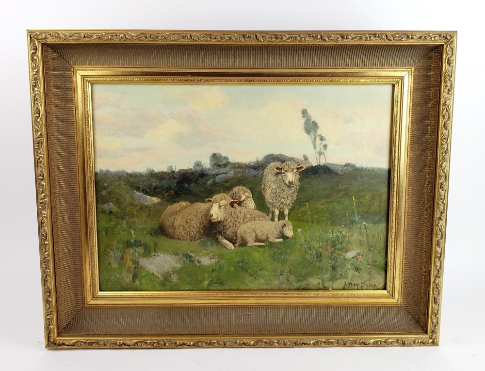 """19th C. Oil on Canvas """"Laughing Sheep"""" Signed, C. 1870"""