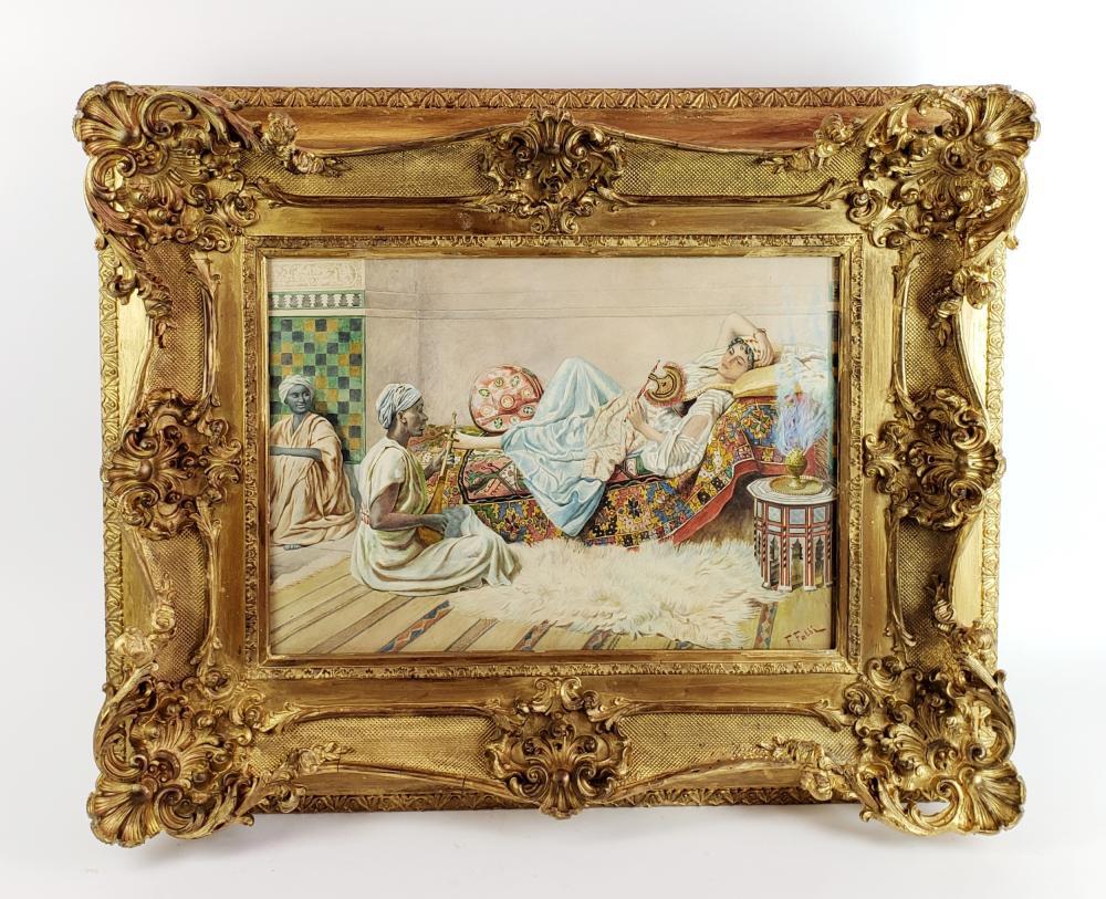 19th C. Fabbio Fabbi Orientalist Watercolor