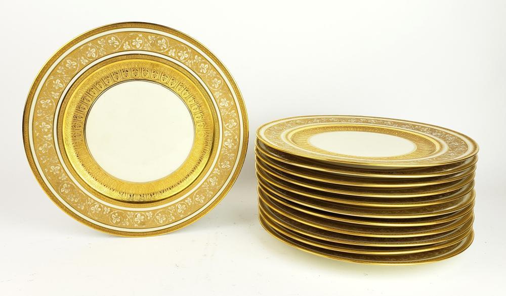 Set of 12 Minton Heinrich & Co Gilt Porcelian Plates