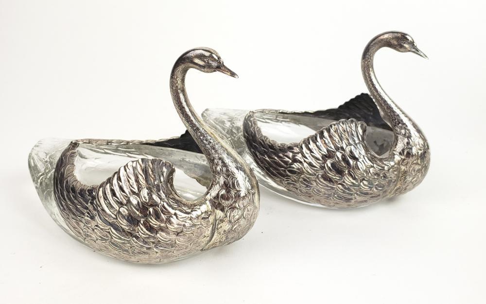 Pair of Sterling & Crystal Figural Swan Vases