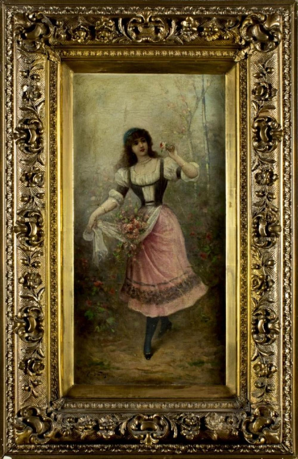 Carlo Valensi Signed Oil on Canvas, Late 19th C.