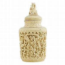 Large Chinese ivory perfume bottle and stopper