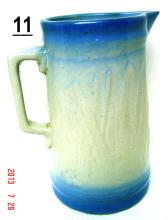 Blue and White Cattails and Rushes Stoneware Pitcher (9