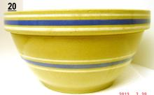 Antique Blue Band Yellowware Mixing Bowl