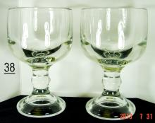 Vintage Heavy Glass Footed Pedestal Goblets