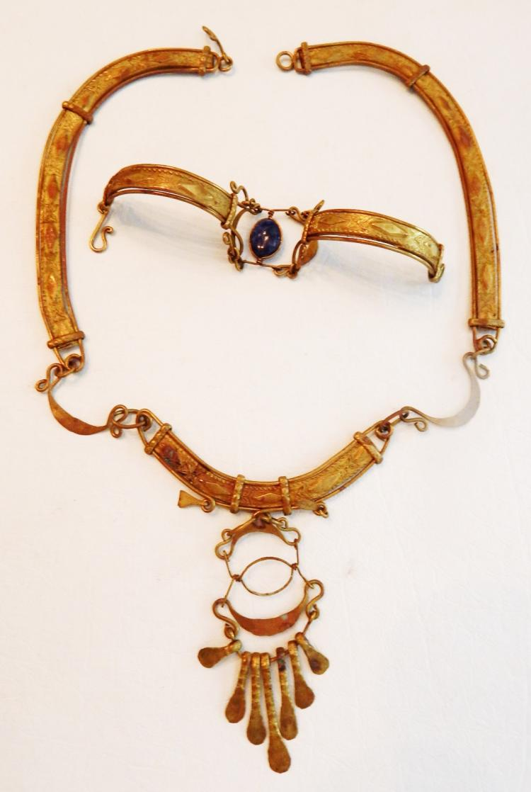 vintage italian necklace and matching bracelet with lapis st