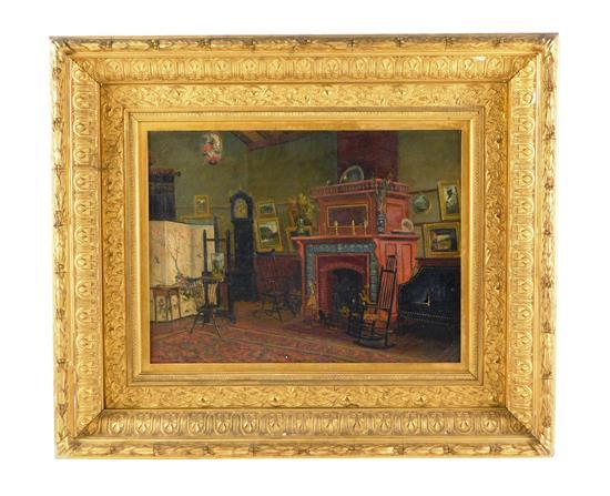 Frank Henry Shapleigh (American, 1842 - 1906), oil on canvas, 1882, interior portrait with mantel, tall clock, easel, and framed art...