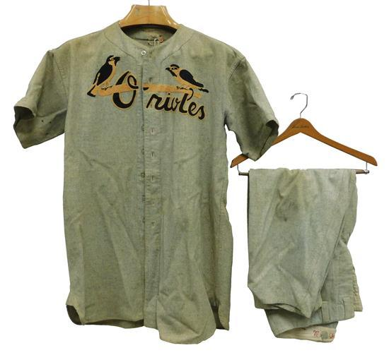 """Men's Orioles baseball uniform #7, 1930s, wool, shirt and pants, """"Ed Remorenko"""" stitched inside shirt, wear consistent with age and..."""
