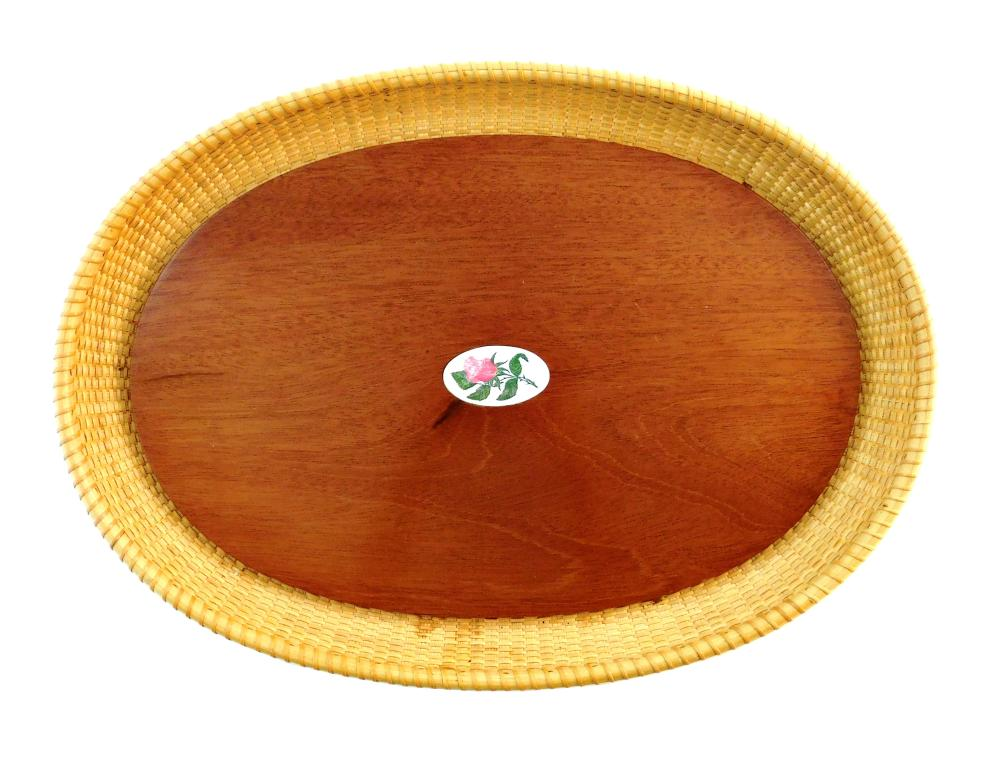 "Nantucket tray, oval wooden base with inlaid medallion with rose design, raised woven sides, signed and dated on base ""Susan Chase O..."