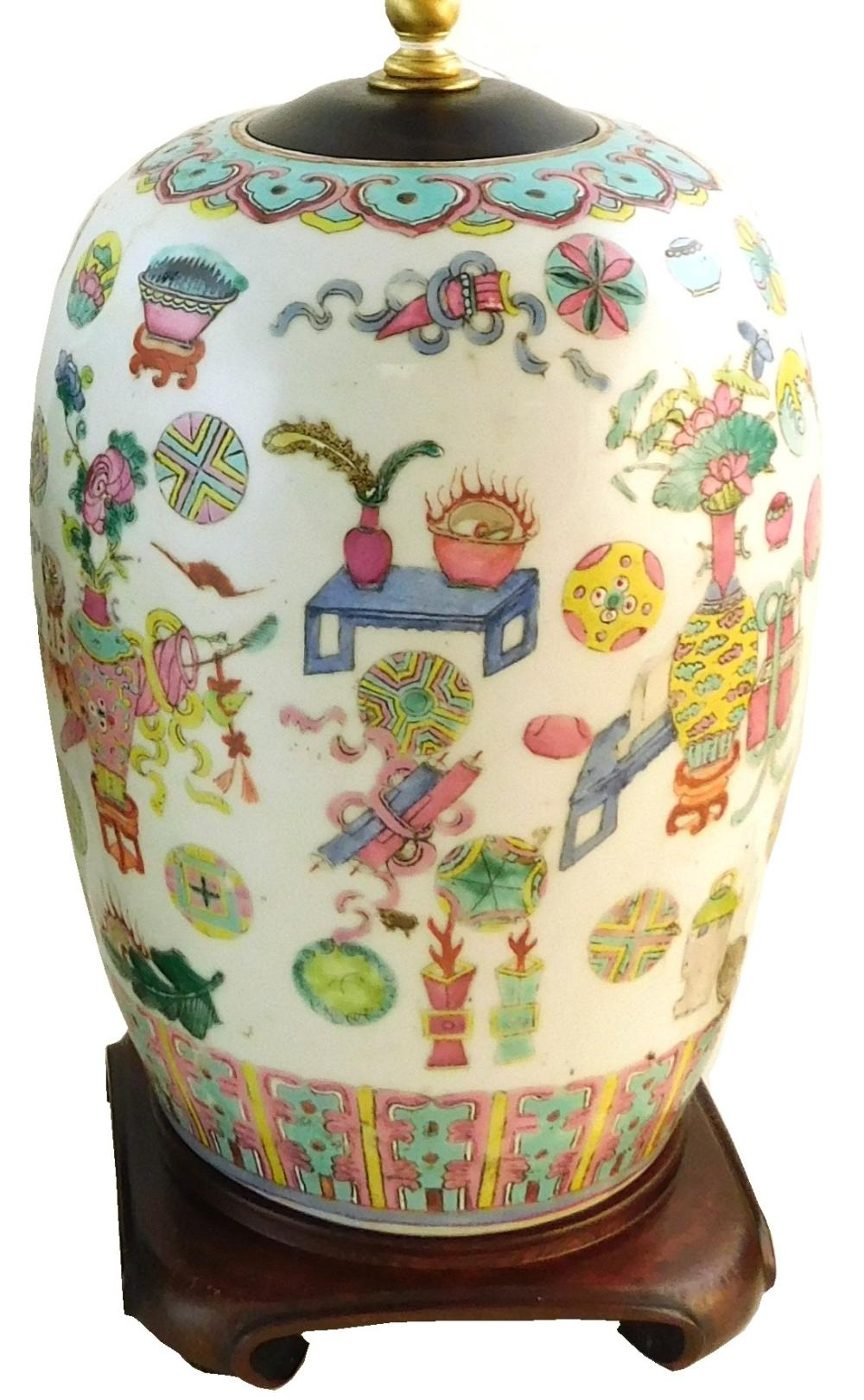 ASIAN: Two Chinese porcelain vessels converted to lamps, including: Famille rose porcelain urn electrified as lamp, rounded form, ma...