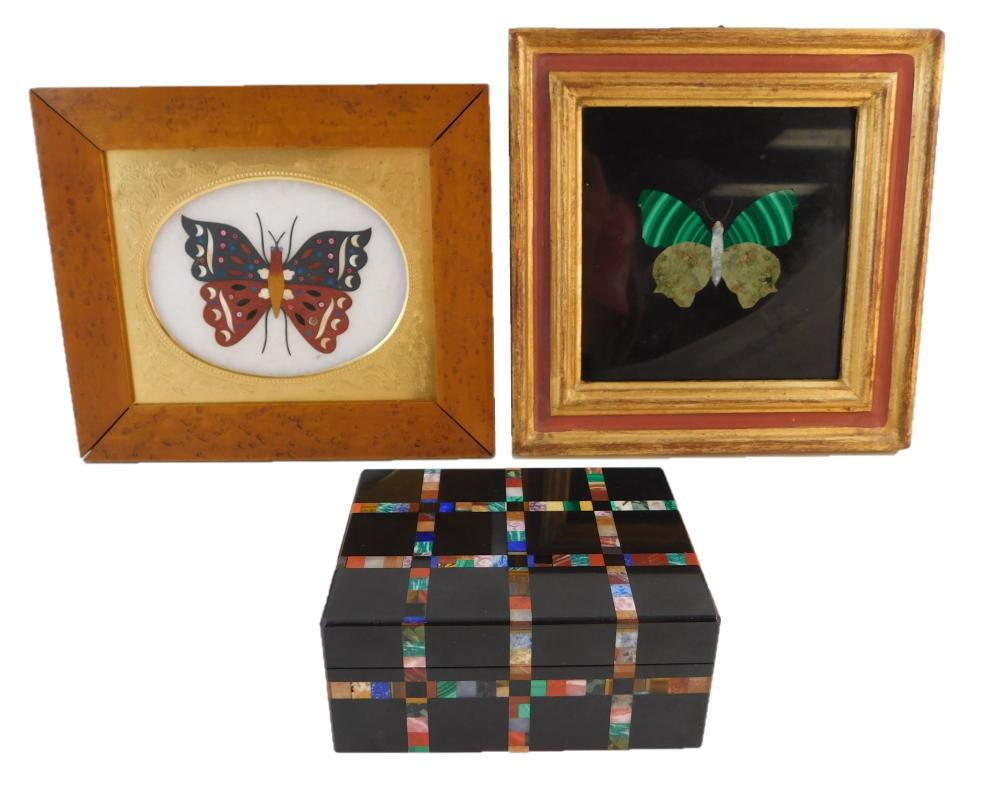 "Two pietra dura plaques and a box, Italian, 19th/20th C., details include: both plaques depicting a butterfly, one 4 ¾"" square, fram..."