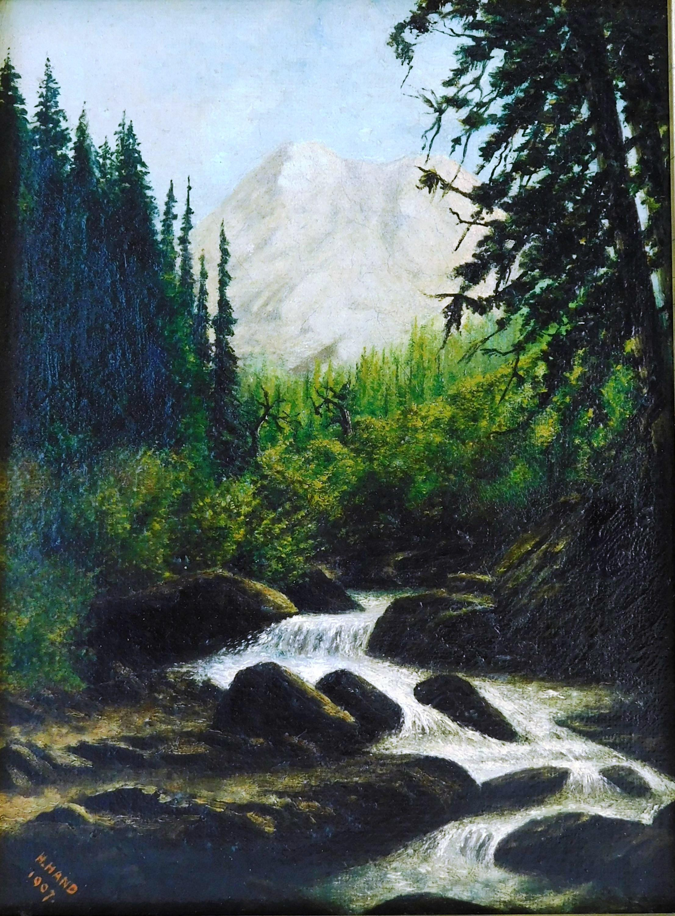 "Oil on canvas signed ""H. Hand, 1907"", landscape of stream winding through forest, mountain peaks in distance, signed and dated lower..."