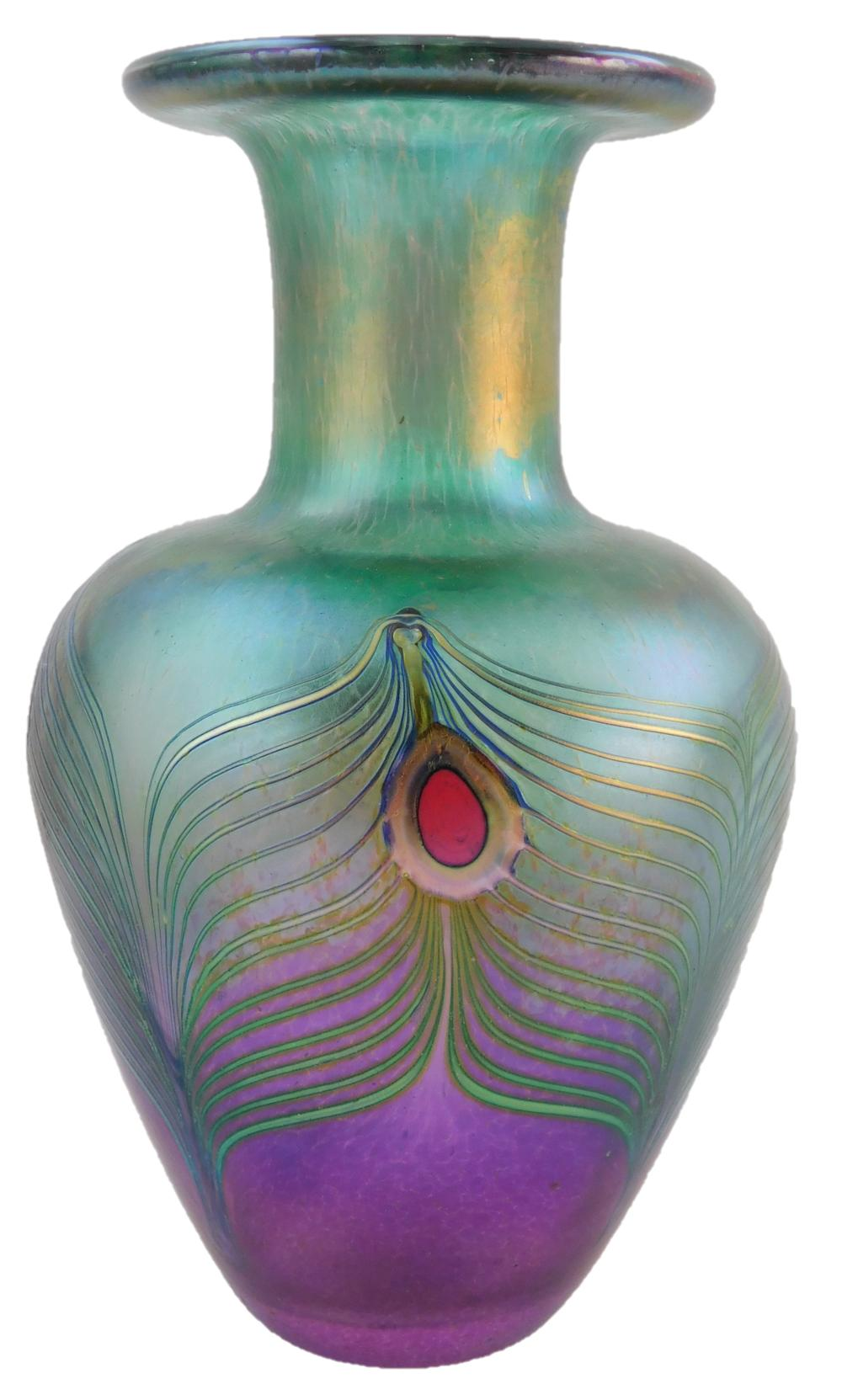 """ART GLASS: Three pieces, American 20th C., including an Orient and Flume iridescent """"Hawthorne"""" vase, signed, 7 ½"""" h.; a Robert Held..."""