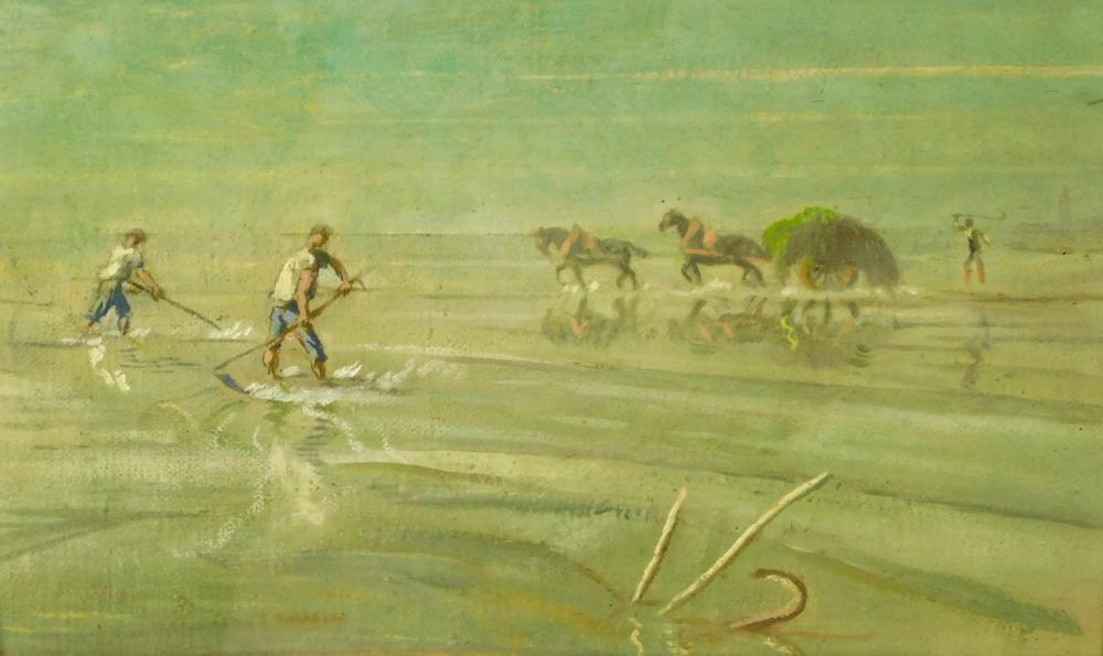 Oil on canvas of workmen harvesting shellfish and seaweed, late 19th/ early 20th C., unsigned, seascape with two figures with rakes...