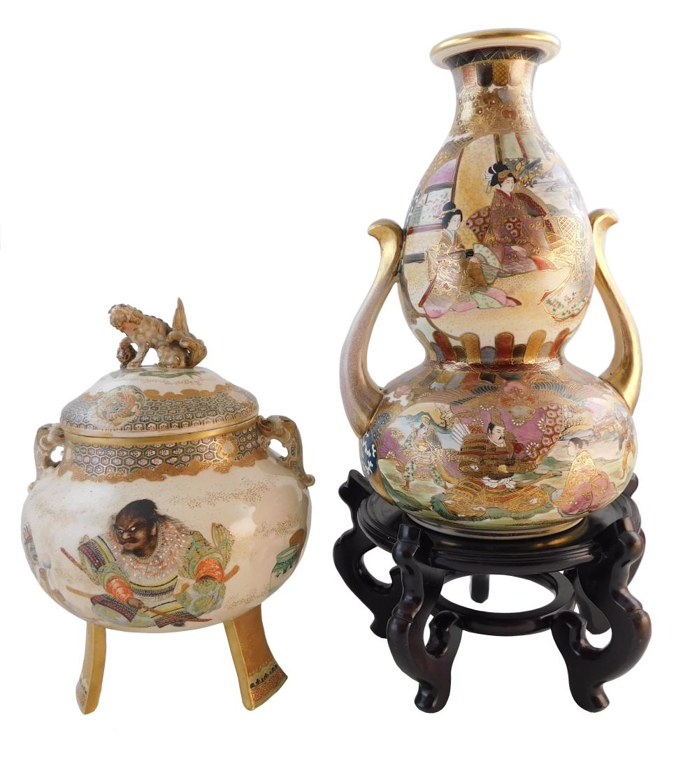 ASIAN: Two large pieces of Satsuma pottery, Japanese, 19th/20th C., including: a double gourd vase with handles, figural decoration,...
