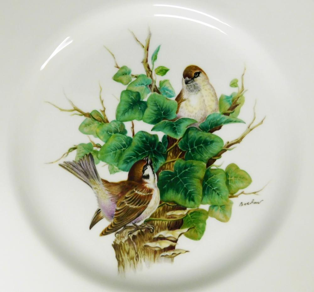 Boehm bone porcelain European bird plates, complete set of eight, each depicts different type of male and female birds on natural ha...