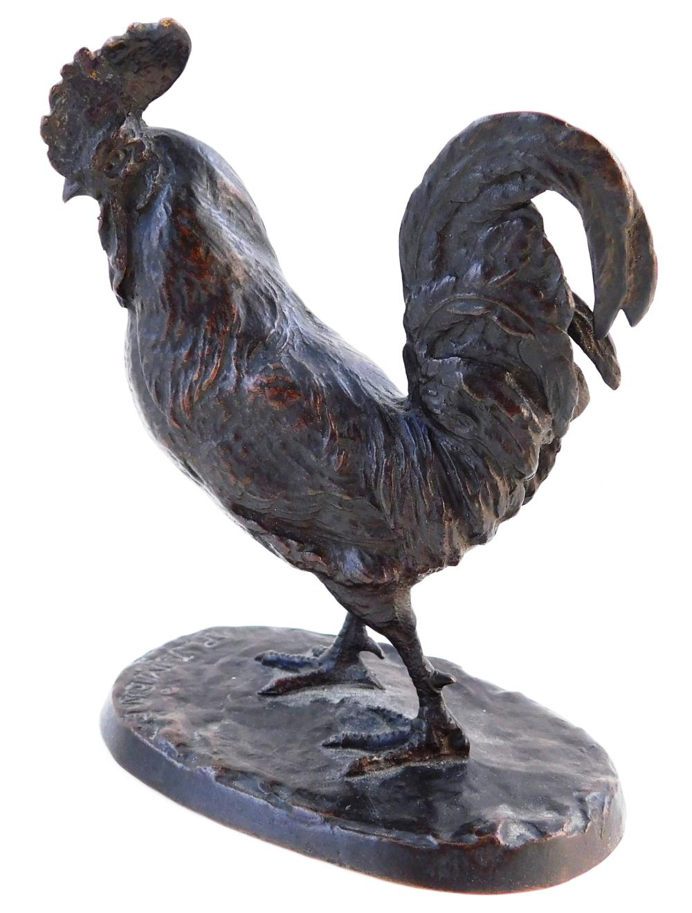 "Two small bronzes: one rooster after Pierre Jules Mene (French, 1810 - 1879), signed on base, no foundry mark, 5 3/8"" h.; and small..."