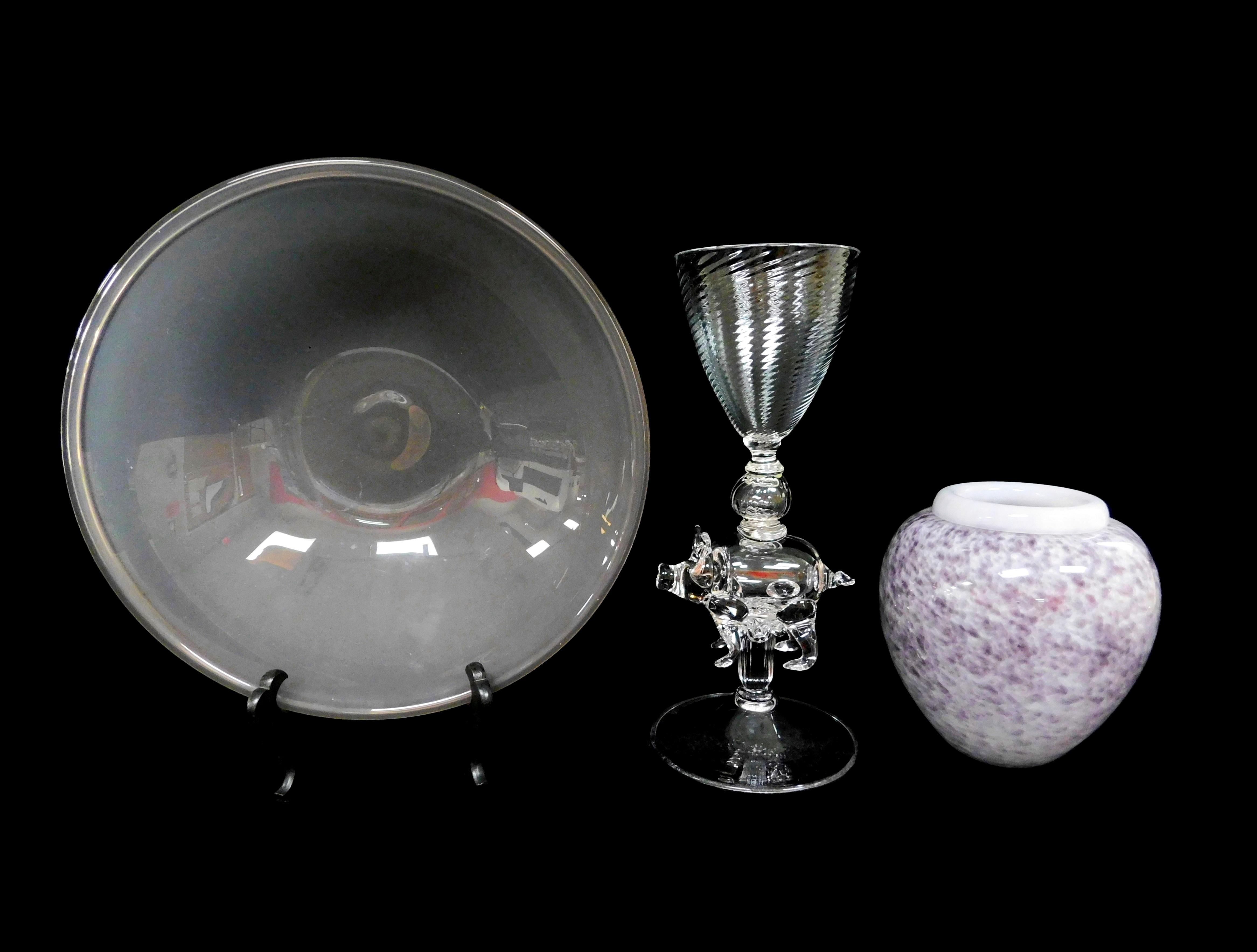 """GLASS: Peter Greenwood handblown glass vessels, three pieces total, details include: pale amethyst bowl with rolled rim, 13"""" diam.;..."""