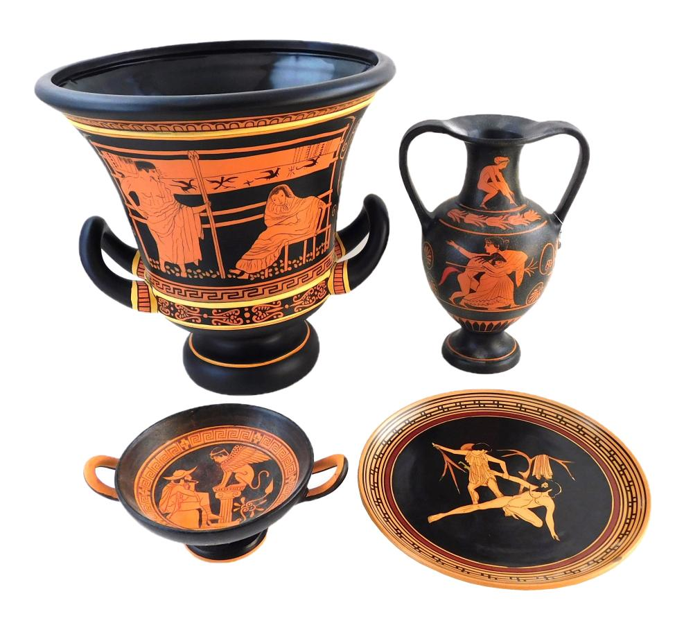 Four Ancient Greek-style pottery reproductions, 20th/ 21st C., details include: largest a calyx krater with red and black figural de...