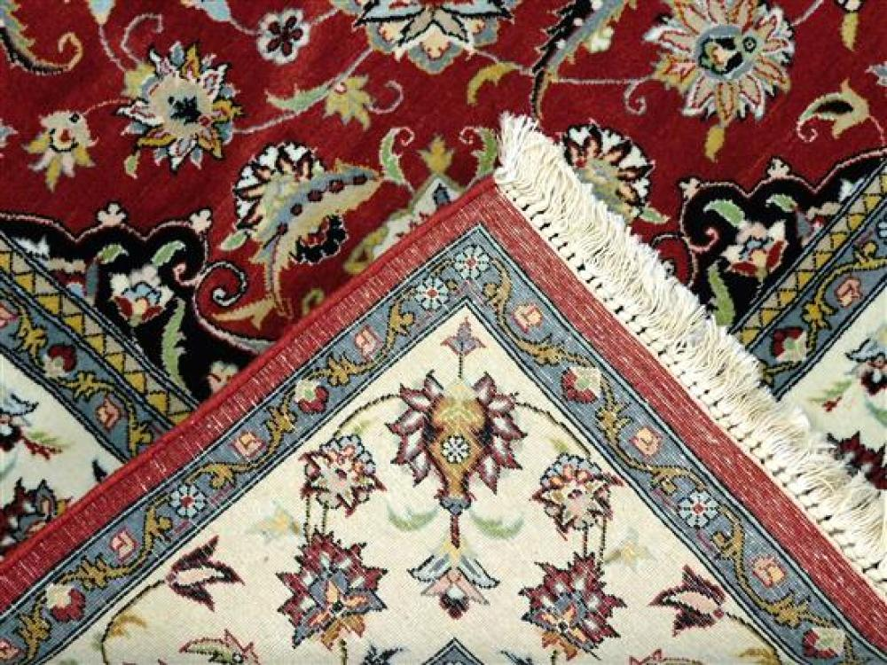 RUG: Pakistani Persian pattern, fine, 6' x 6', hand-knotted, 100% wool on cotton, circular medallion at center with scrolling vine s.