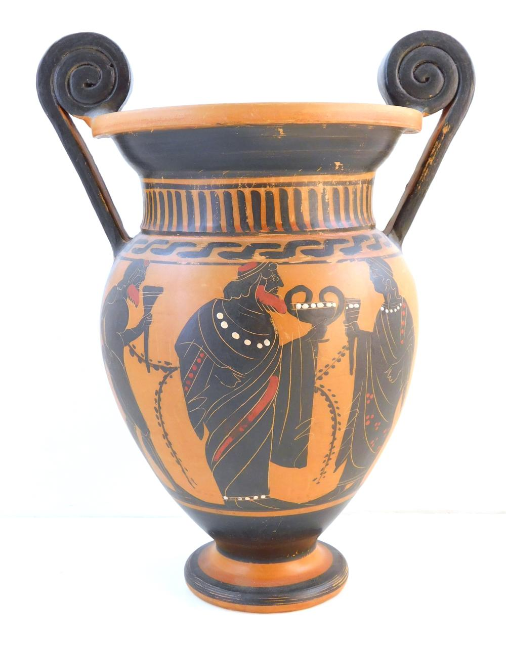 Three Ancient Greek-style pottery reproductions, late 20th C., two signed or marked on base, details include: one tall lekythoi with...