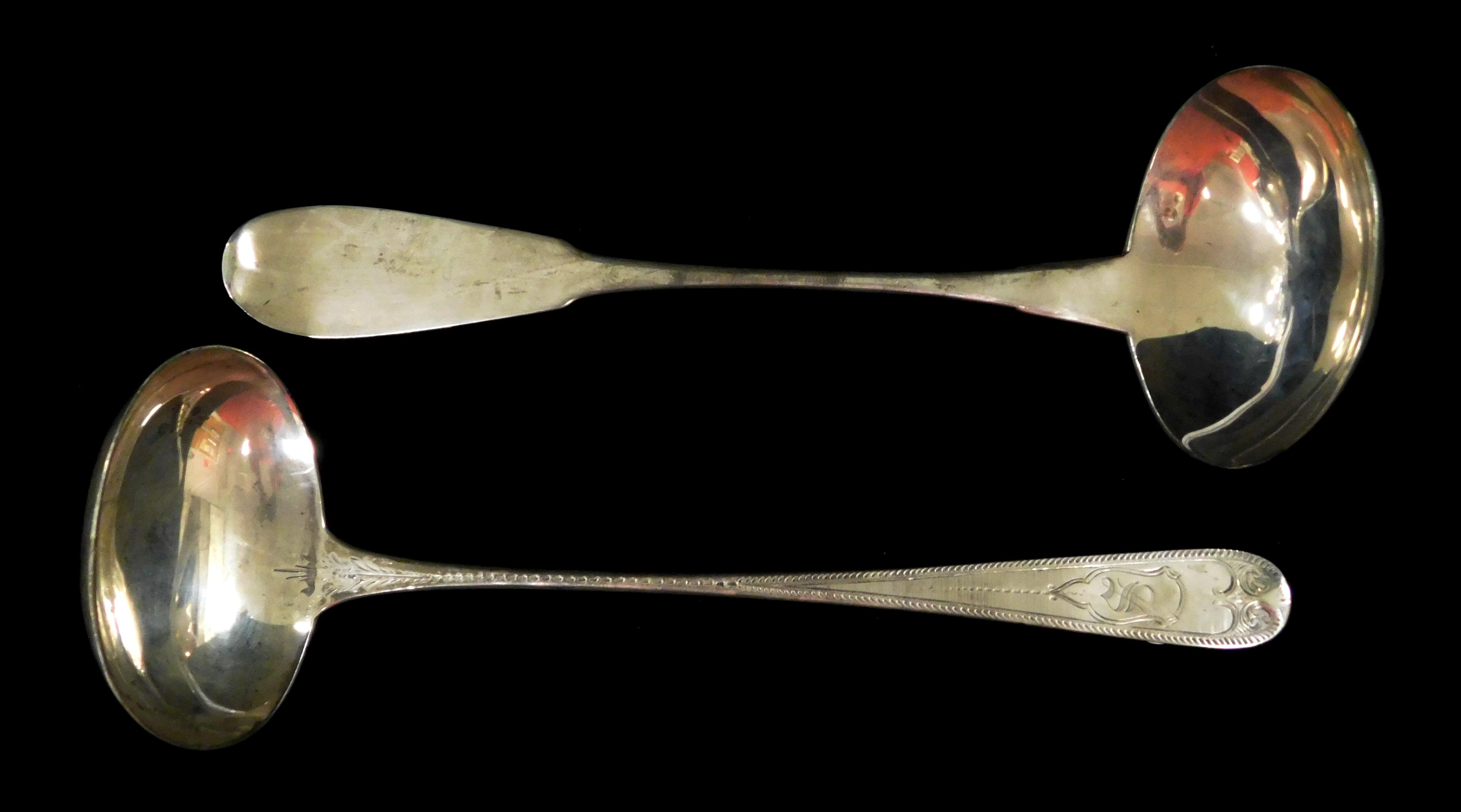 """SILVER: Two early American tested silver ladles, both with 4"""" diam. bowls; one by Peter L. Krider, monogrammed """"S"""" on handle, c. 185..."""
