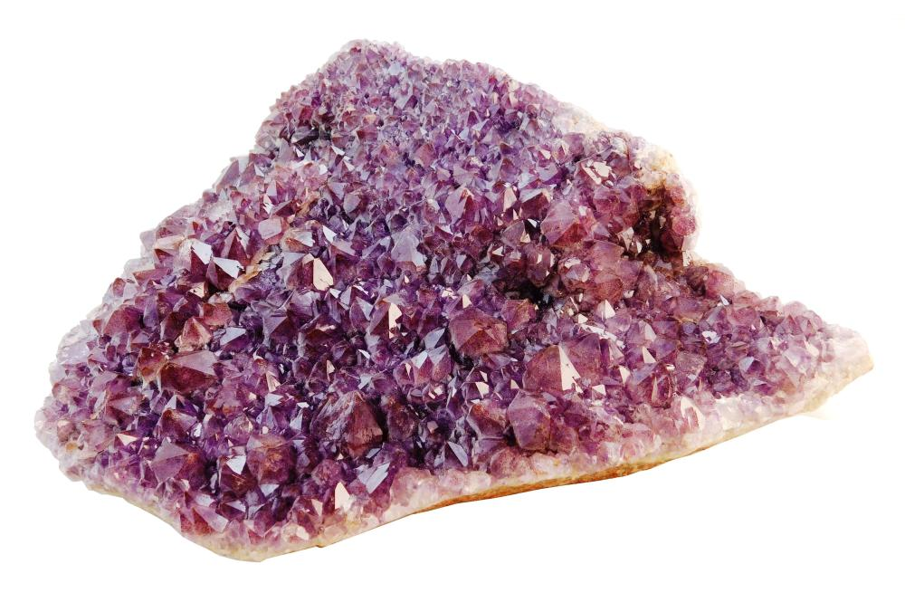 "Large Amethyst geode, rounded shape with natural flattened back, wear consistent with age and use, 11 1/4"" h. x 12 1/2"" w. x 3"" d."
