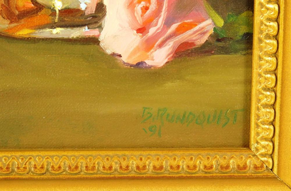 "Beth Rundquist (American, b. 1962), ""Roses and Pitcher"", 1991, oil on canvas, signed and dated ""B. Rundquist 91'"", depicts two pink..."