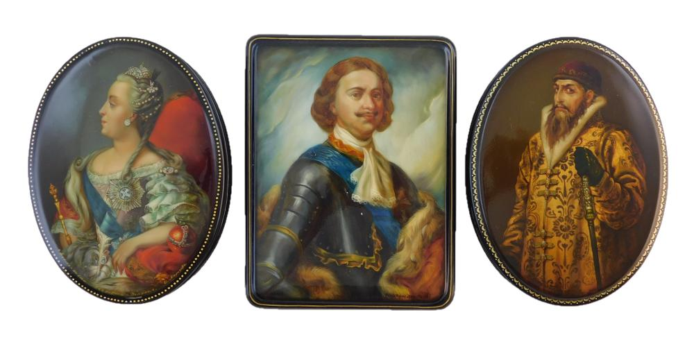 """Russian hand-painted lacquer boxes, three pieces, all of royal portraits and signed by artist, including: """"Ivan the Terrible"""", by Vl..."""