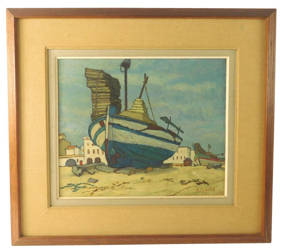 "Manes Lichtenberg (American, b. 1920), ""Dinghy"", oil on canvas, depicts blue and white rowboat on beach, white Mediterranean-type bu..."