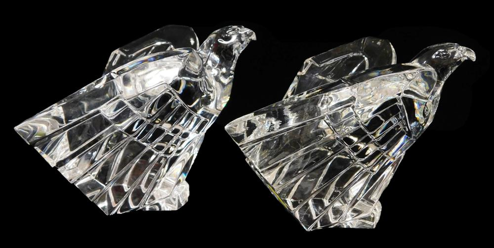 GLASS: Steuben, five pieces of signed clear crystal, 20th C., details include: two eagles about to take flight, designed by Donald P...