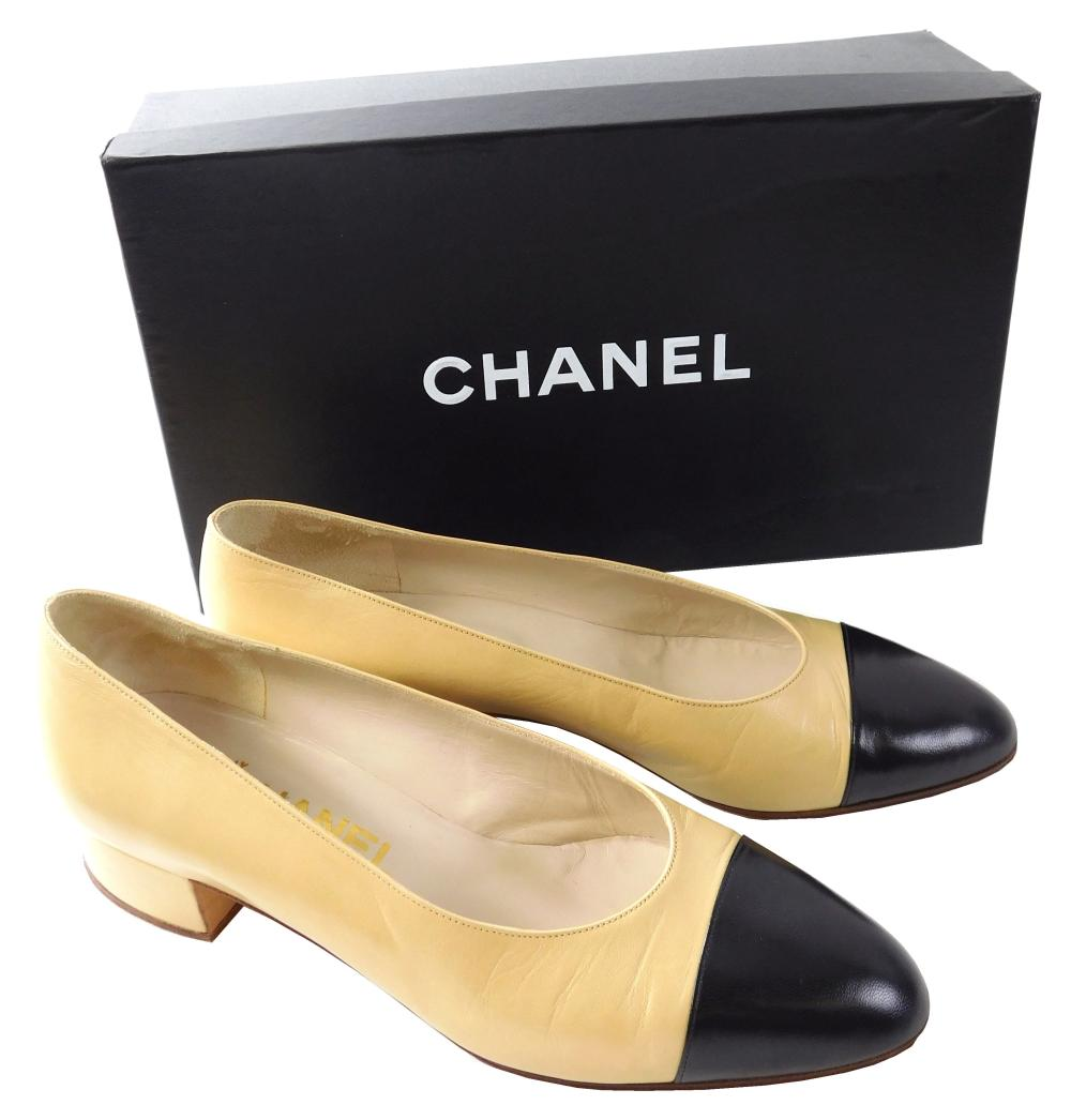 """VINTAGE CLOTHING: Five Chanel women's kitten heel pumps, all size 37 except for one pair, details include: size 36 ½ 1"""" heels, cream.."""