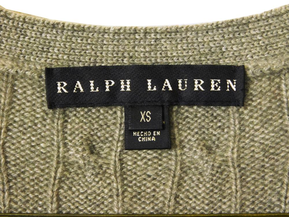 VINTAGE CLOTHING: Two Ralph Lauren black label cardigan sweaters, both 100% cashmere cable knit, size extra small, styles include: o...