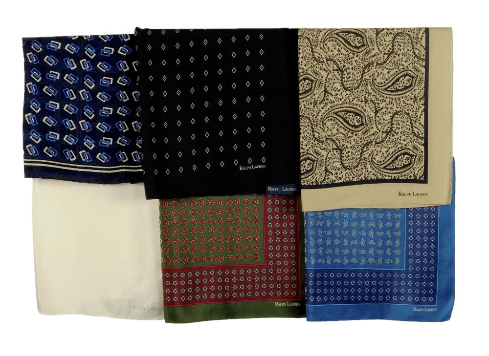 "VINTAGE CLOTHING: Six Ralph Lauren scarves, all 20 ½"" square, colors include: white, black with white diamond pattern, navy blue wit..."