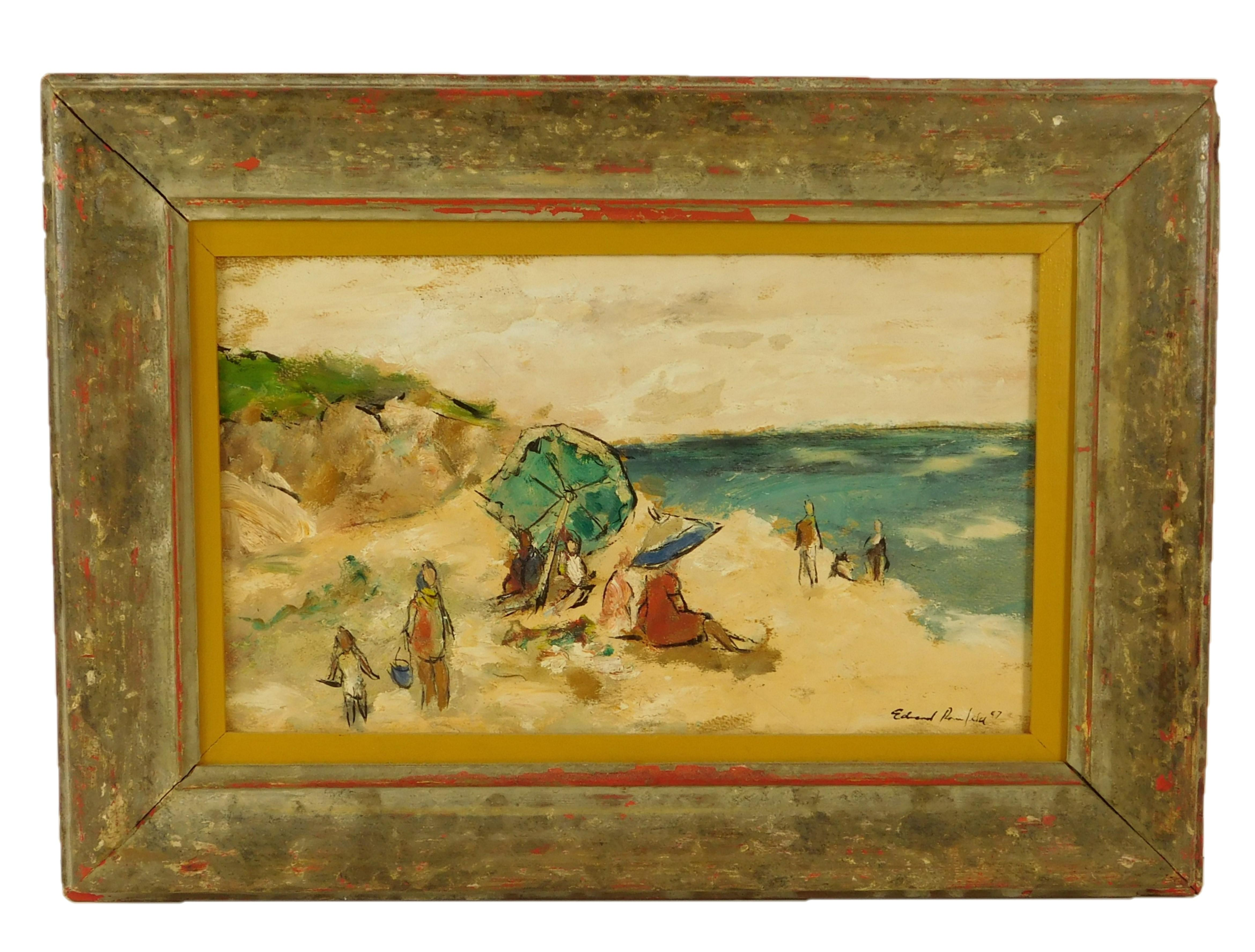"""Edward Rosenfeld (American, 1906-1983), """"Green Umbrella"""", oil on masonite, depicts stylized beach scene with a crowd of people and a..."""