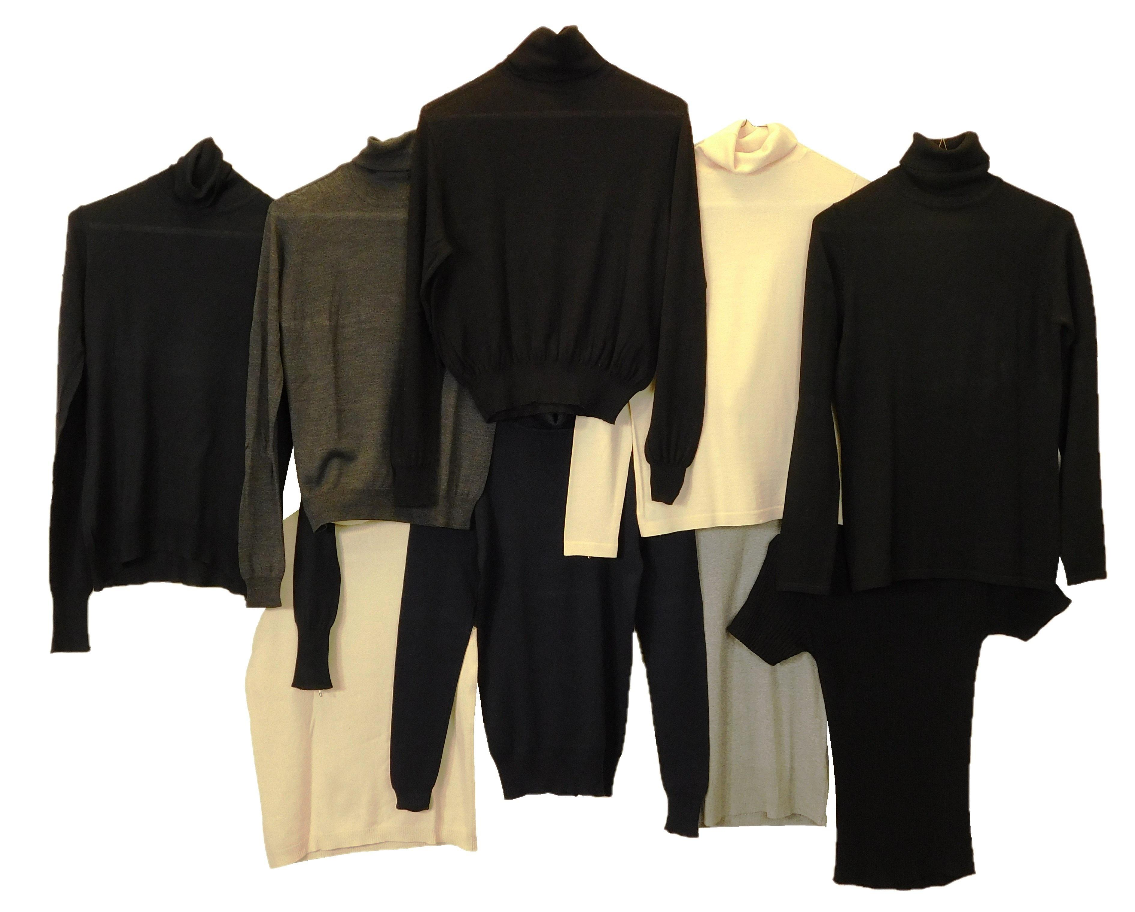VINTAGE CLOTHING: Nine turtleneck sweaters, most Ralph Lauren, all size small except for one medium, colors include: four black with...