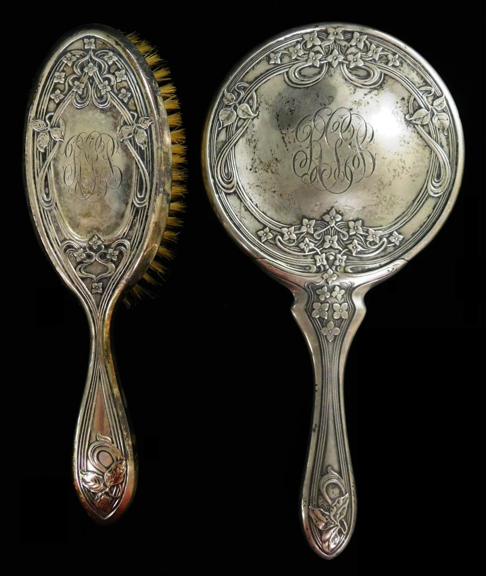 STERLING: Ten-piece matching vanity set with Art Nouveau pattern and monogram, all stamped Foster & Bailey and marked sterling, desi...