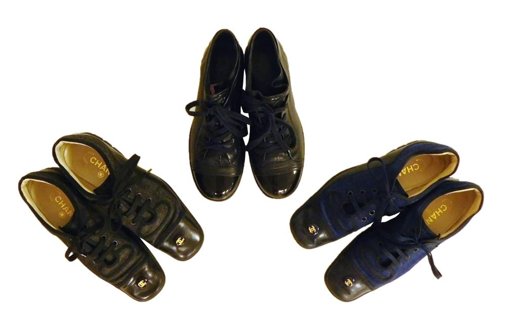 VINTAGE CLOTHING: Chanel, three pairs of women's sneakers, all size 37, styles include: two unusual denim and leather pairs, with lo..