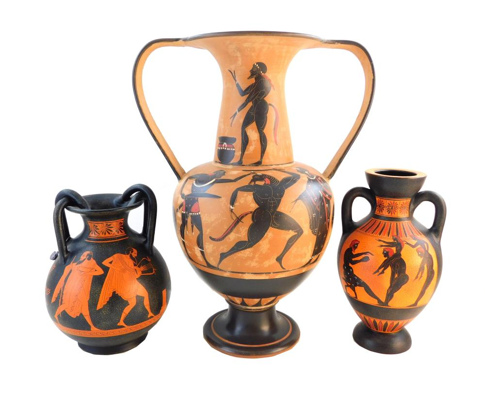 Three Ancient Greek-style pottery reproduction amphoras, late 20th C., two marked on base, details include: two smaller marked on ba...