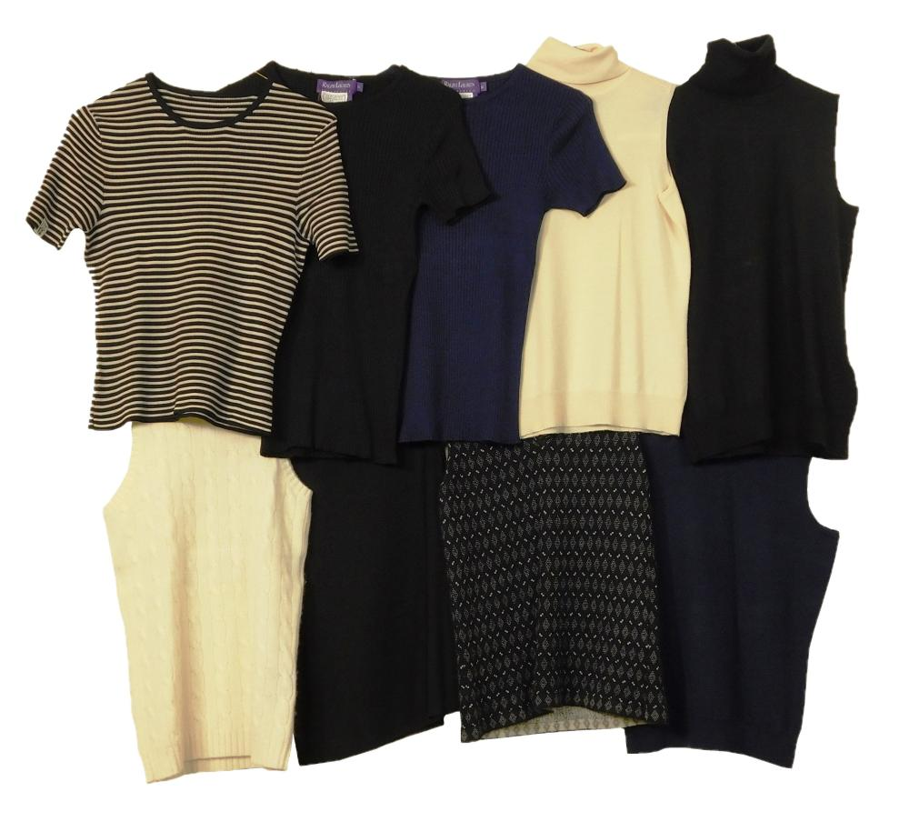 VINTAGE CLOTHING: Nine Ralph Lauren black and purple label women's summer sweaters, details include: four cashmere turtleneck vests,..